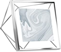 Umbra 313017-158 Prisma Picture Frame, 4x4 Photo Display for Desk or Wall, Chrome, Multicolored