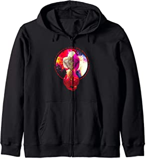 Magic Tattoo Inked Woman Praying to the Stars of the Galaxy Zip Hoodie