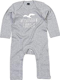 Kleckerliese Baby Strampler Schlafanzug Overall Sprüche Jungen Mädchen Motiv Heimathafen Familie Möwe