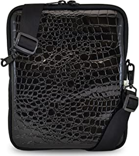 Tablet Bag with Shoulder Straps | Compatible with iPad, Samsung, Acer and 10.5in Tablets | Fits Mobile Device and Phone | Made in USA | Croc Black Color