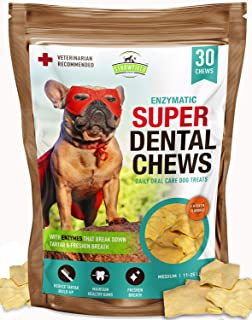 Strawfield Pets Dog Teeth Cleaning Treats – 30 Natural Rawhide Enzymatic Dental Chews for Dogs – Oral Care Enzyme Brushing...