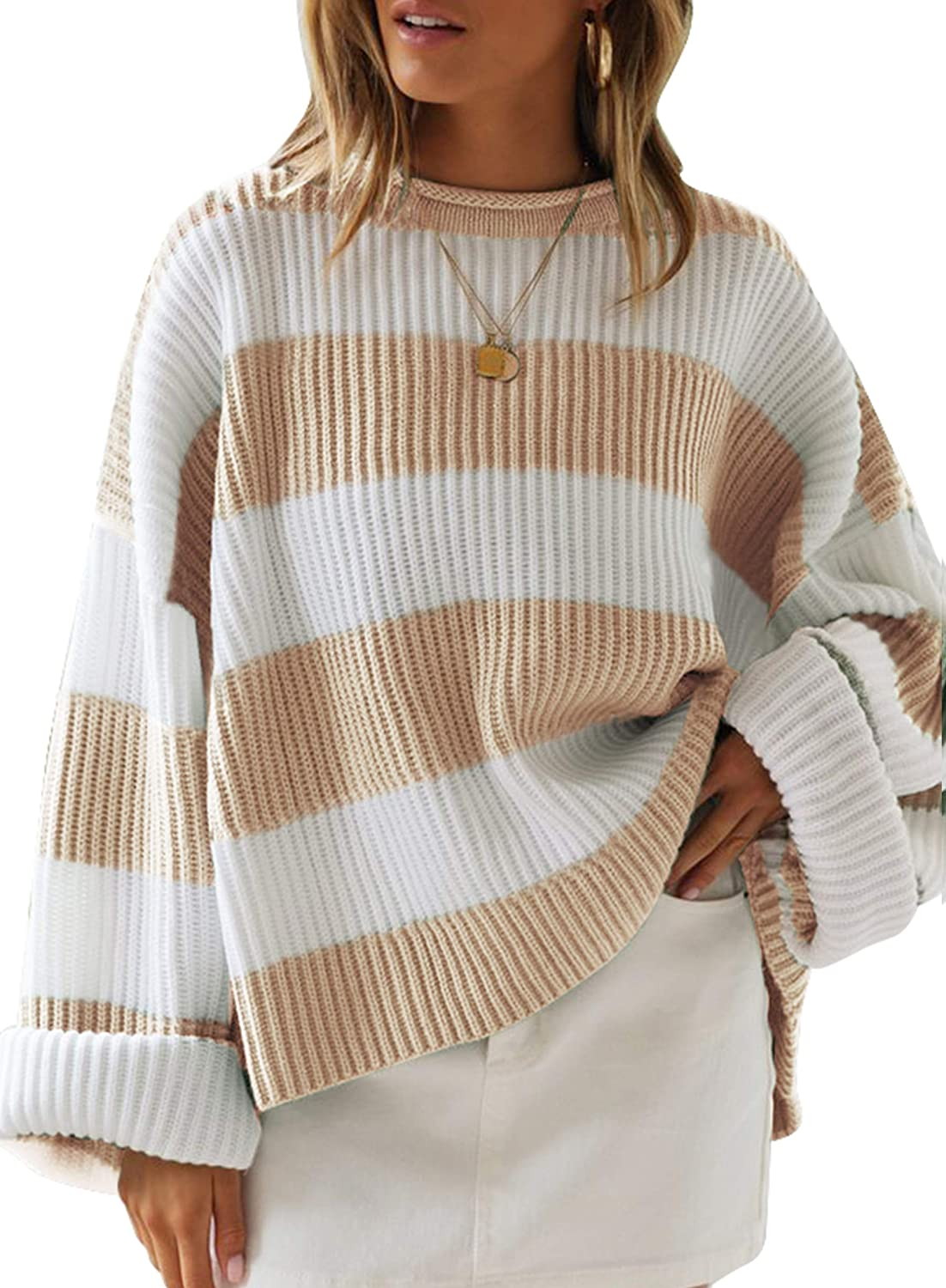 LEANI Womens Sale Memphis Mall Color Block Striped Long Sleeve Oversized Sweaters