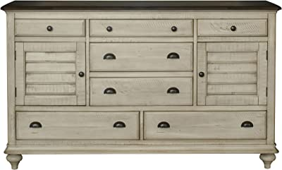 Sunset Trading Shades of Sand Chest, Antique white/Natural walnut