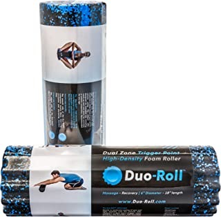 Duo-Roll High Density Dual Zone Trigger Point Foam Roller | Durable & Ergonomic Construction for Deep Tissue Massage | Smooth Side for Muscle Therapy/Ridged Side for Pain Relief (20-0615)