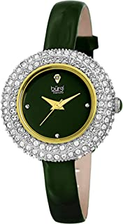 Burgi Swarovski Crystal & Diamond Accented Watch - Comfortable Genuine Leather Strap Women's Wristwatch- Perfect for Mother's Day Gift - BUR195
