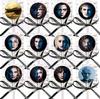 Game of Thrones CHARACTERS FACES Party Favors Supplies Decorations Lollipops Suckers with Black Ribbon Bows Favors -12 pcs