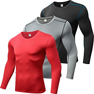 Xtextile Men's Compression Baselayer Cool Dry Long Sleeves Sport Tops(Pack of 3)
