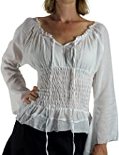 zootzu Long Sleeve Peasant Tops for Women - Renaissance Pirate Blouse Shirt