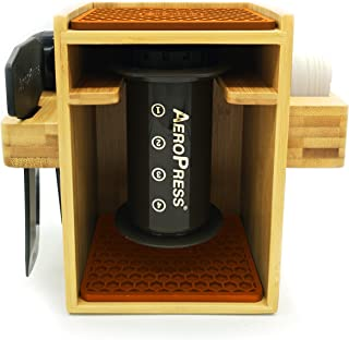 Hexnub Compact Organizer for Aeropress Coffee Maker Premium Bamboo Stand Caddy Station Holds Aeropress Coffee Maker Filters Cups Accessories with Silicone Dripper Mat (Brown)