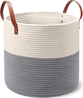 Two-Tone Cotton Rope Basket - Large Size, 16 x 16 x 14 Inch - Decorative Woven Storage Basket for Laundry Clothes, Toys, Blankets, Pillows, Towels