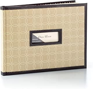 Hallmark Wedding Guest Book Hardcover with Personalize Inserts, Linen with Black Border