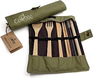 comboo® – Juego de cubiertos de bambú, cubiertos de viaje ecológicos, cuchillo, tenedor, cuchara, palillos y pajita, cubiertos de madera para viajes, incluye bolsa (verde, 20)