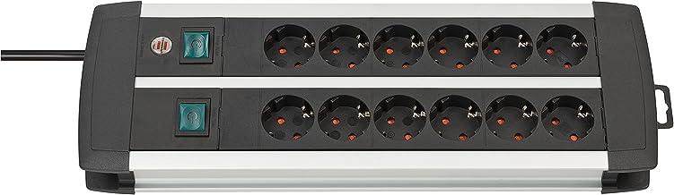 Brennenstuhl Premium-Alu-Line 12-voudige stekkerdoos - verdeeldoos van hoogwaardig aluminium (stekkerblok met 2 schakelaar...