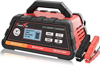 2/8/15A 12V Fully Automatic Smart Battery Charger/Maintainer with Cable Clamps, Winter Mode