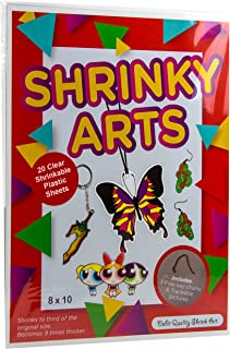 Dabit Shrinky Art Paper 20-Pack, Shrinky A Dinks Sheets For Boys And Girls, Clear Shrink Film Sheets, Kids Activities For All Ages, Bonus Traceable Pictures And Keychains