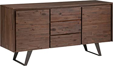 SIMPLIHOME Lowry SOLID ACACIA WOOD and Metal 60 inch WideRectangle Modern Industrial Sideboard Buffet in Distressed Charco...