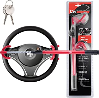 DSV Standard Twin Hooks Steering Wheel Lock with Adjustable Length for Car, Universal Anti-Theft Security System for Your ...