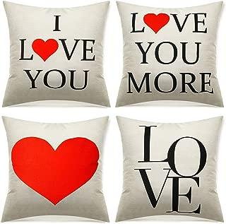 4 Piezas Fundas de Almohada de San Valentín Funda de Almohada de Algodón Lino Protector de Cojín I Love You Love You More Decoraciones de Hogar para Diván Sofá Cama Día de la Madre 18 x 18 Pulgadas