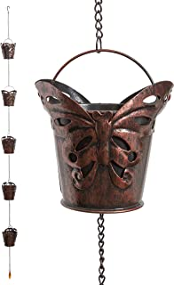 Iron Butterfly Decorative Rain Chain for Gutters | Unique Downspout Extension Home Décor | Rainwater Diverter with Rain Collector Cups is an Excellent Gift Idea for Housewarming, Birthday