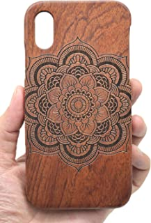 VolksRose Compatible iPhone XR (6.1 inch) Wood Case - Rosewood Mandala Flower - Premium Quality Natural Wooden Case for Your Smartphone and Tablet