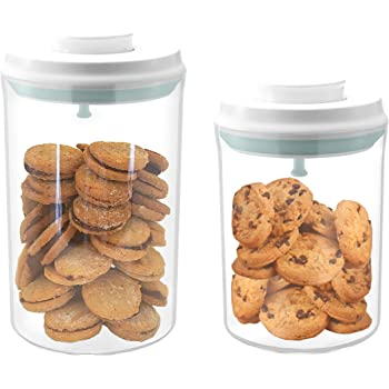 Amazon Com Airtight Cookie Jars Kitchen Storage Container With Lids Plastic Canister Flour And Sugar Containers Set Of 2 2qt 1qt Kitchen Dining