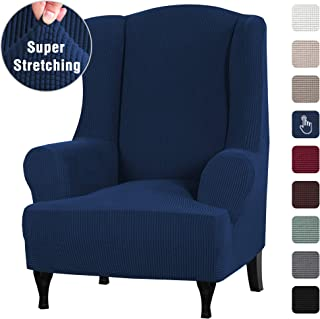 1 Piece Sofa Cover High Stretch Furniture Slipcover Stay in Place Wing Back Armchair Slipcovers, Skid Resistance Polyester Spandex Jacquard Fabric Small Checks (Wing Chair, Navy)