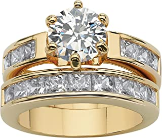 Palm Beach Jewelry 14K Yellow Gold Plated Round Cubic Zirconia Channel Set Bridal Ring Set