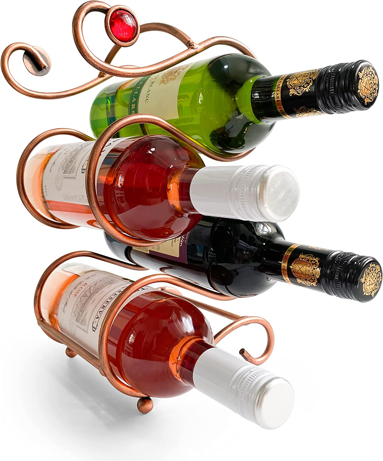 Retro Style Wine Rack Countertop Bottles 4 Holds Uniquely Los Ranking TOP1 Angeles Mall