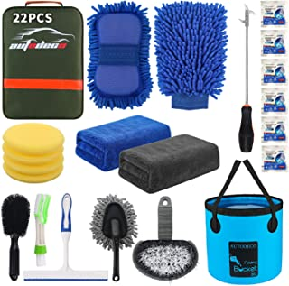 AUTODECO 22Pcs Car Wash Cleaning Tools Kit Car Detailing Set with Olive Green Canvas Bag Collapsible Bucket Wash Mitt Spon...