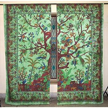 indio tapiz tratamientos para ventanas algodón Conjunto de 2 paneles cortina de puerta balcón escarpado tabique cortina de la ducha: Amazon.es: Hogar