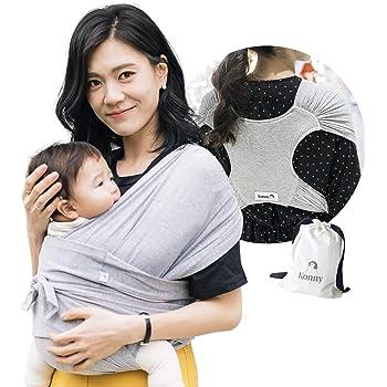 【ママリ口コミ大賞受賞】コニー抱っこ紐 (Konny) スリング 新生児から20kg 収納袋付き 国際安全認証取得 ぐっすり抱っこひも (グレー) (S)