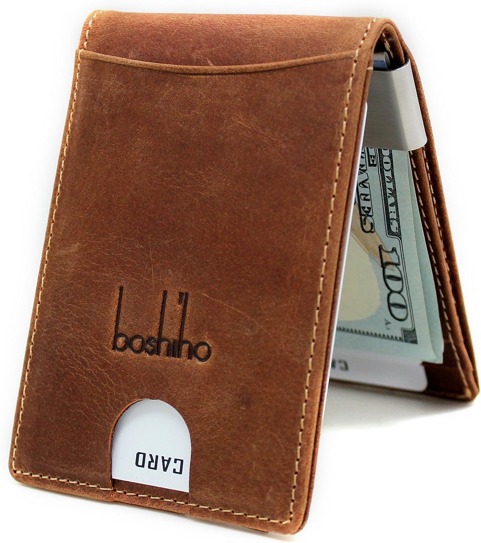 Boshiho Money Clip Wallet, Slim RFID Blocking Front Pocket Wallets for Men Minimalist Mini Bifold Gift Box