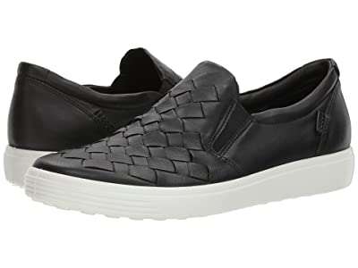 ECCO Soft 7 Woven Slip-On (Black Cow Leather/Cow Nubuck) Women