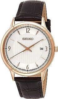 Seiko Mens Quartz Watch, Analog Display and Leather Strap SGEH88P1