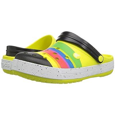 Crocs Crocband Color-Burst Clog (Tennis Ball Green/Black 1) Clog Shoes