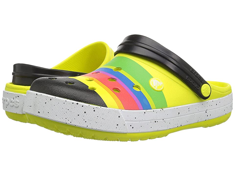 Crocs Crocband Color-Burst Clog (Tennis Ball Green/Black 1) Clog Shoes