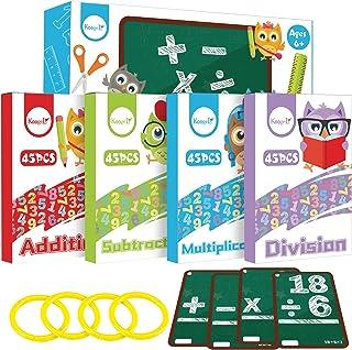 Koogel Math Flashcards, Kids Flash Cards Math Addition Subtraction Multiplication Division Punched Cards Number FlashCards...