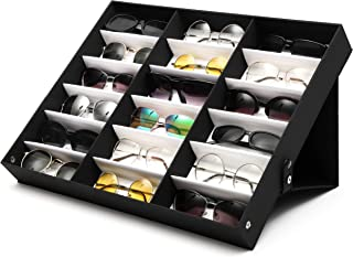 Juvale Sunglasses Organizer Stand, 18 Slot Display Case (18.5 x 14.25 x 2.5 in, Black)