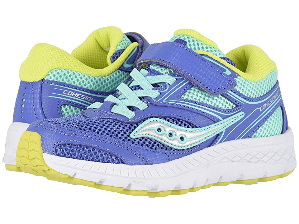Saucony Kids Cohesion 12 A/C (Little Kid) (Periwinkle/Turquoise) Girls Shoes