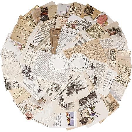 52pcs Autocollants de Scrapbooking Rétro Gommettes étiquettes, Stickers Vintage Scrapbooking DIY Album Photo pour Journal Artisanat Scrapbooking