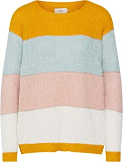 Only Womens Malone Striped Jumper in Golden Yellow.