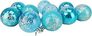 Christmas Concepts Pack of 10-60mm Christmas Tree Baubles - Shiny, Pearl & Transparent Snowflake Decorated Baubles (Ice Blue)