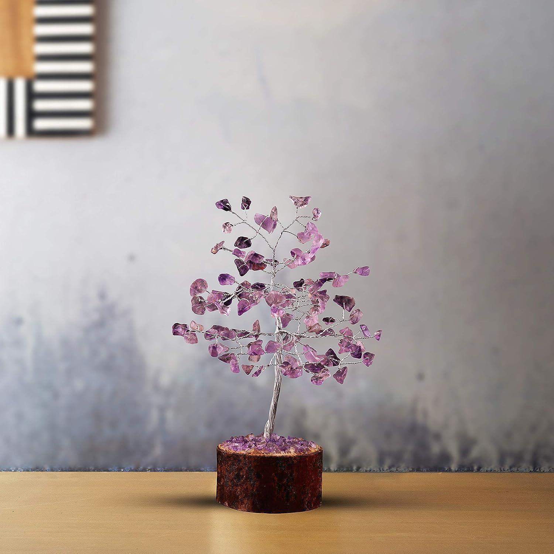 Cartbug Amethyst Gemstone Bonsai Money Gift Tree Crystal Cleansing Reiki Healing Feng Shui Prosperity Stones /& Crystals Positive Energy Gem Figurines Good Luck Chakra Balancing 7-8 Inch Silver Wire