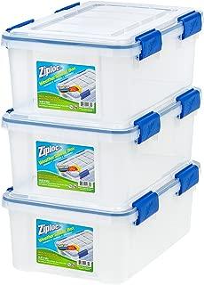 IRIS USA, Inc. Ziploc WeatherShield 16 Quart Storage Box, Clear, 3 Pack