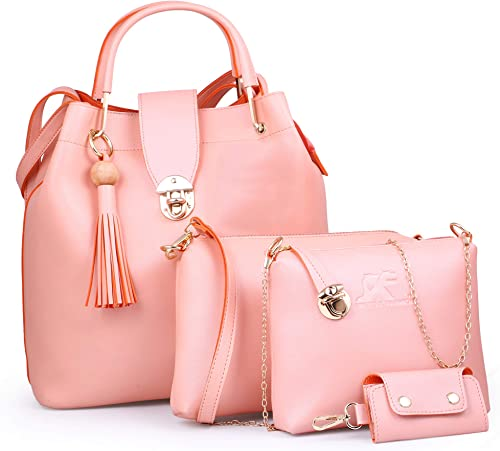 Speed X Fashion Women's Shoulder Bag (Set of 4) (LWH00STR_Pink)