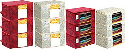 Heart Home Metalic Printed 6 Piece Non Woven Saree Cover and 6 Pieces Underbed Storage Bag, Storage Organiser, Blanket Cover, Brown & Red - CTHH24323