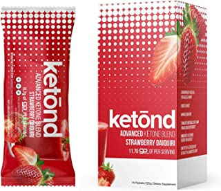 Ketond Advanced Ketone Blend - 15 'On The Go' Packs - Exogenous Ketone Supplement 11.7g of BHB (Beta-Hydroxybutyrate) Salts to Lose Weight, Increase Energy & Focus (Strawberry Daiquiri)