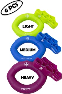 MY PERSONAL BEST | Hand Grip Strengthener 6 Pack | Finger Stretcher & Hand Grip Trainer Rings | Hand Therapy | Great for Guitar|Yoga|Gymnastics|Basketball|Football|Stress Relief| Stocking Stuffer