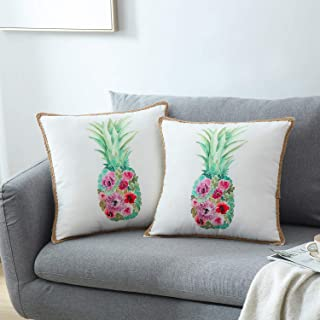 GREAGLE Pineapple Throw Pillow Covers Set of 2 Decorative Farmhouse Burlap Linen Trimmed Tailored Edges Cushion Covers 18 x 18 inch, 45 x 45 cm, 18S111