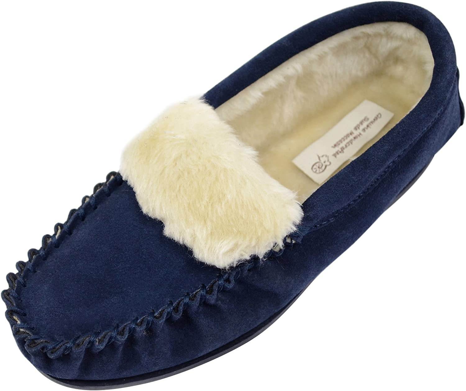 ABSOLUTE FOOTWEAR Ladies Womens Suede Sheepskin Moccasins Slippers with Rubber Sole - Navy - 8 US